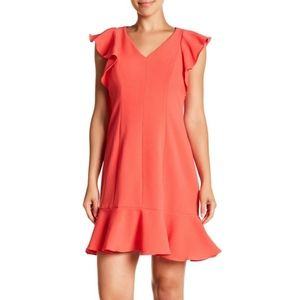 Eliza J V-Neck Ruffle Sleeve Hem Sheath Dress Sz 2